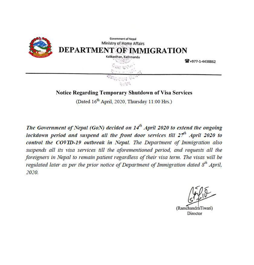Tourist VISA notice Nepal